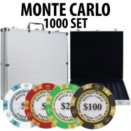 Monte Carlo 1000 Poker Chip Set with Aluminum Case
