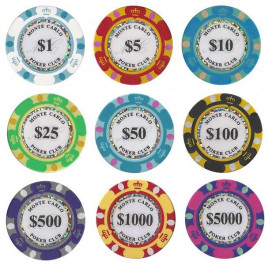 Monte Carlo Poker Chips : 14g Chips : Sold by the roll