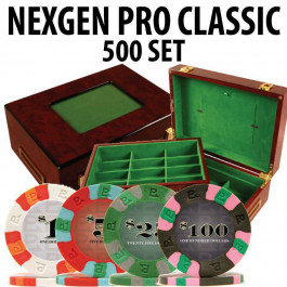 Nexgen Pro Classic Poker Chips 500 W / Customizable Wood Case