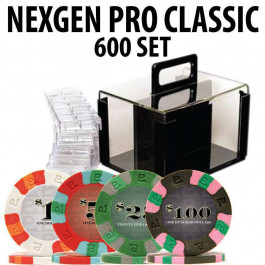 Nexgen Pro Classic Poker Chips 600 W / Acrylic Carrier and Racks