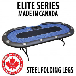 POKER TABLE SPS ELITE - Blue Dealer Table With Steel Folding Legs