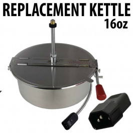 Popcorn Machine Kettle Replacement 16oz with Metal Cord - O Type cord