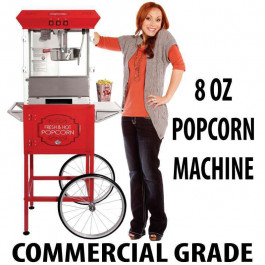 8oz Popcorn machine with cart : 5 Feet RED 2017 Model