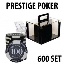 Prestige Poker Chips 600 Chip Set with Acrylic Carrier and Racks