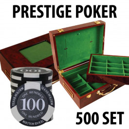 Prestige Poker Chips 500 Chip Set with Customizable Wood Case