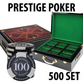 Prestige Poker Chips 500 Chip Set with Hi Gloss Wood Case