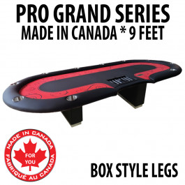 Poker Table 9 foot SPS Pro Grand Red Dealer With Box Style Legs