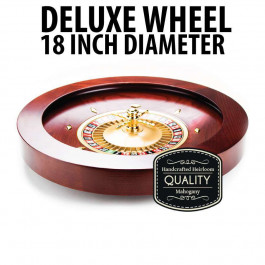 Deluxe Wooden Roulette Wheel - 18 inch Mahogany Stain