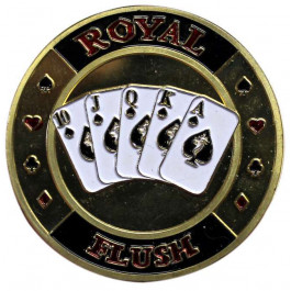 Poker Protector Card Guard Cover in Capsule :  Royal Flush Gold