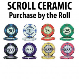 Scroll Ceramic Poker Chips :  Sold by the roll
