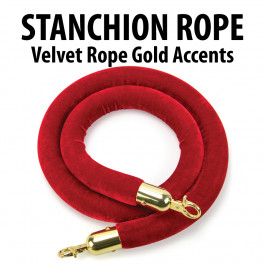 Stanchion Red Velvet Rope with Gold Accents