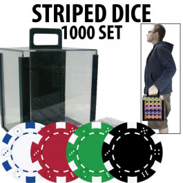 Striped Dice 11.5 gram 1000 w/Carrier : You Select your colors