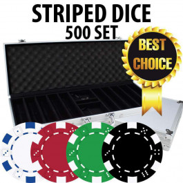Striped Dice Poker Chips 500 chips W/ Alum case