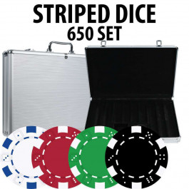 Striped Dice Poker Chips 650 chips W/ Alum case