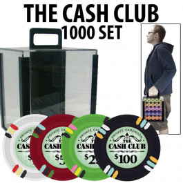 Cash Club 1000 Poker Chip Set with Acrylic Carrier and Racks