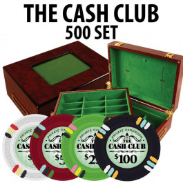 Cash Club 500 Poker Chip Set with Customizable Wood case