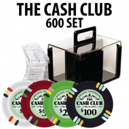 Cash Club 600 Poker Chip Set W/ Acrylic Carrier and Racks