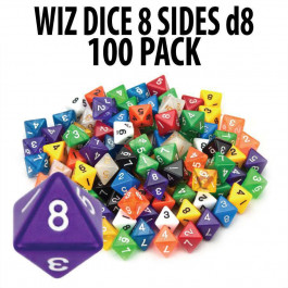 100+ Pack of Random D8 Polyhedral Dice in Multiple Colors by Wiz Dice
