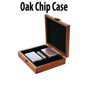 100 Piece Capacity Oak Poker Chip Case