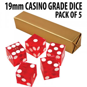 New Red 19mm Grade A Precision Dice w/Matching Serial #s PACK OF 5