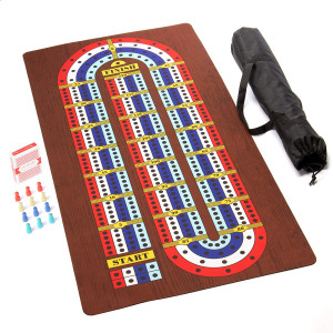 Tabletop Cribbage - Giant 4 Track Board Game Set with Carry Case, Pawns, Playing Cards Included - Classic Retro Boardgames & Toys for Kids, Family, Adults & Seniors - 2-4 Players