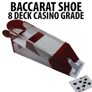 Casino Grade 8 Deck Blackjack and Baccarat Shoe Red