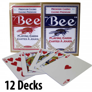 BEE Plastic Coated Cards : 12 Decks Red & Blue