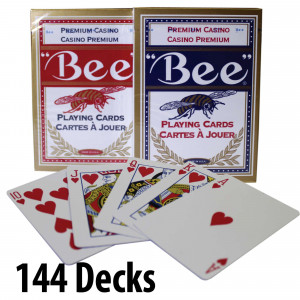 BEE Plastic Coated Cards : 144 Decks Red & Blue