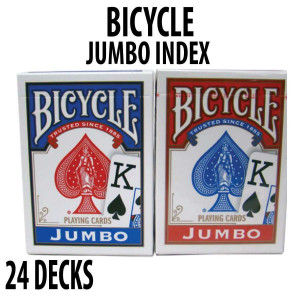 Bicycle Rider Back Plastic Coated Playing Cards 24 Decks Red & Blue JUMBO Index