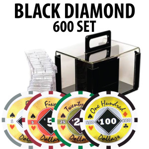Black Diamond Poker Chips 600 W/ Acrylic Carrier and Racks