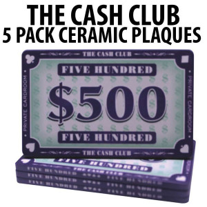 The Cash Club Ceramic Poker Chip Plaques $500  Pack of 5