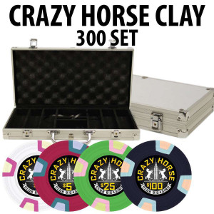 2017 Crazy Horse 300 Poker Chips W/ Aluminum Case
