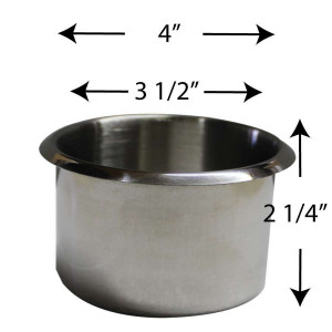 Stainless Steel Jumbo size Cup Holder for Poker or Blackjack Table