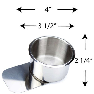 Stainless Steel Slide Under Cup holder Jumbo for Poker or Blackjack Table