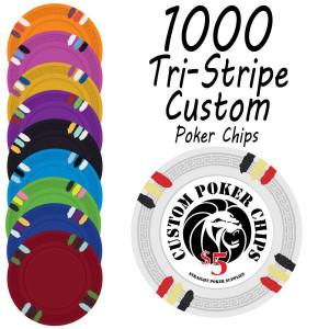 Custom Tri-Stripe Poker Chips : 1000 chips