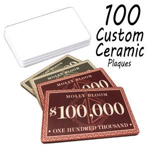 Custom Ceramic Poker Chip Plaques 40g Chips : 100 Plaques