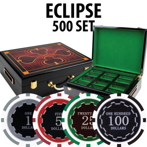 Eclipse Poker Chips 500 W/ Hi Gloss Wood Case
