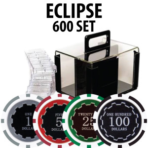 Eclipse Poker Chips 600 W/ Acrylic Carrier and Racks