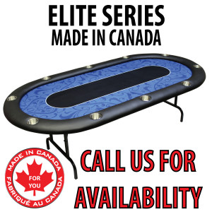 POKER TABLE SPS ELITE - Blue Full Bumper Table With Steel Folding Legs