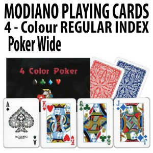Modiano Playing Cards 4 Colour Poker Wide Regular Index 100% Plastic