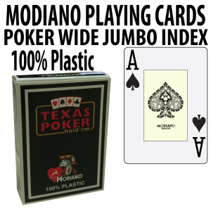 Modiano Texas Holdem Poker Wide Jumbo Index - Single Deck Black