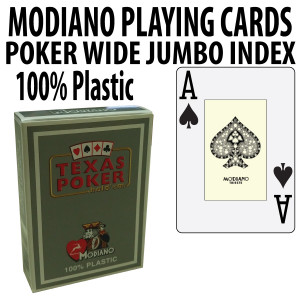Modiano Texas Holdem Poker Wide Jumbo Index - Single Deck Gray