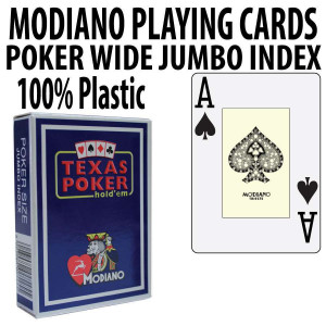 Modiano Texas Holdem Poker Wide Jumbo Index - Single Deck Blue
