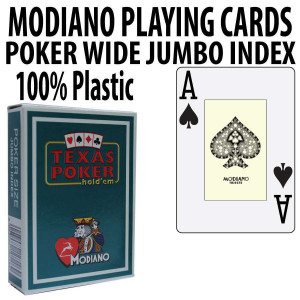 Modiano Texas Holdem Poker Wide Jumbo Index - Single Deck Green