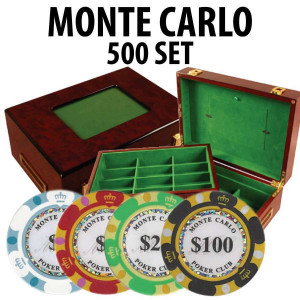 Monte Carlo 500 Poker Chip Set with Customizable Wood Case