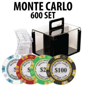 Monte Carlo 600 Poker Chip Set with Acrylic Carrier and Racks
