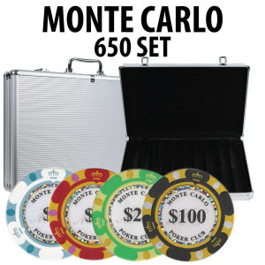 Monte Carlo 650 Poker Chip Set with Aluminum Case