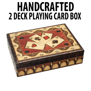 Handcrafted Wooden Playing Card Box : 4 Aces Design