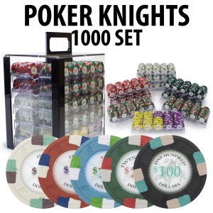 Poker Knights 1000 Poker Chip Set with Acrylic Carrier and Racks