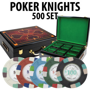 Poker Knights 500 Poker Chip Set with Hi Gloss Wood Case